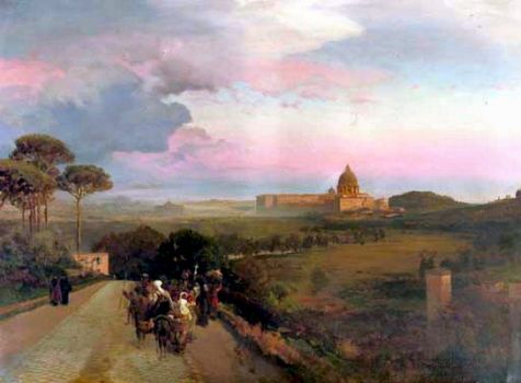 Pilgrims on the Via Cassia, Rome by Oswald Achenbach