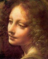 Leonardo da Vinci, Vergine Delle Rocce, detail of angel's face