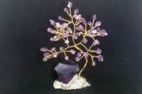 Amethyst gem tree with an Alum crystal