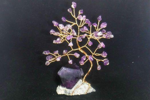 Amethyst gem tree with an Alum crystal