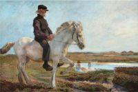 Hans Nikolaj Hansen (Danish, 1853–1923), Maximillian Gersdorf on His Foal, Svinkløv