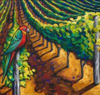 Grape Vines and Parrot