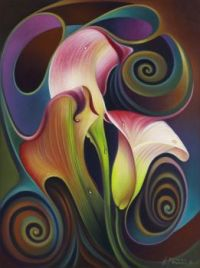 Dynamic Floral IV (Calalillies) Painting