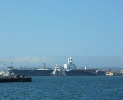 "Festival of Sails, San Diego  -  ""Tall"" Ship and the USS Nimitz"