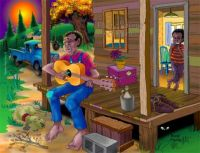 African American folk art .. Blues On The Porch