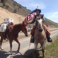 Sam and horses on One Nation Ride