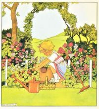 Themes Vintage illustrations/pictures - Girl in Garden