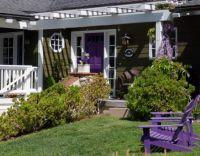 purple door and chairs