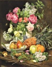 Still Life with Flowers and Pineapple (1890)