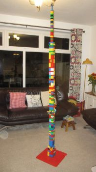 Piggly slept, so Danma made a Duplo tower