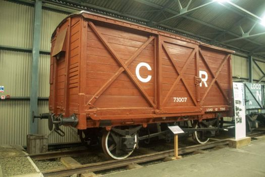 Bo'ness & Kinneil Railway 09-07-2019 73007 (original number unknown) 10 ton Covered Van Caledonian Railway CR, St Rollox C1920 01