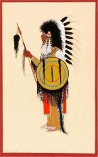 Cheyenne Warrior in Feather Headdress with Shield, Monroe Tsatoke, ca. 1915-1937