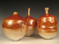 Three Orange Luster Vases (2)