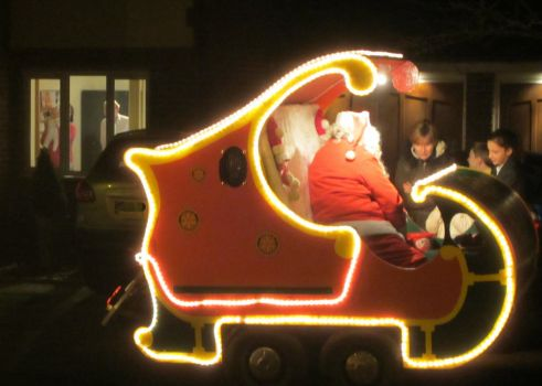 Father Christmas in his sleigh
