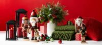 Christmas Display with Red Wall