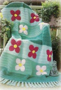 Pretty Spring Flower Garden Crocheted Afghan