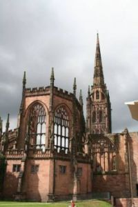 Coventry Cathedral, destroyed by bombing during the war.