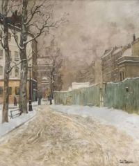 "Frits Thaulow, ""A Parisian Street Scene in Winter"""
