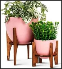 Pretty Pink Ceramic Planters on Wooden Stands