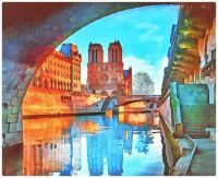 Watercolour Paris Notredam Dame