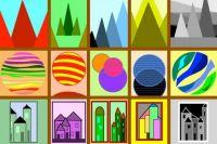 1) Mountains  2) Circles  3) Buildings