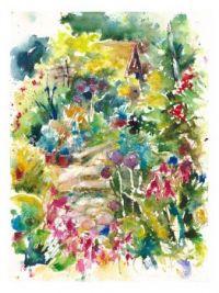 Watercolor Garden Steps
