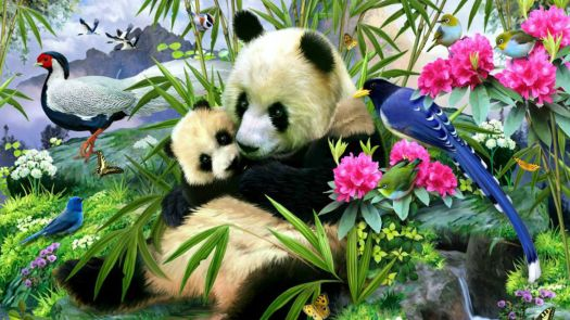 mother panda with baby