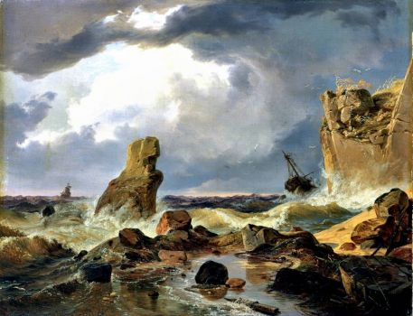 Surf on a Rocky Coast, 1835 by Andreas Achenbach