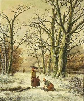 Hendrik Barend Koekkoek - Women Gathering Winter Wood