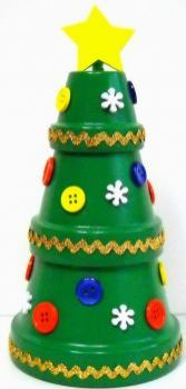 A Christmas tree that uses recycled flower pots, buttons...excetra