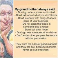 Grandmother's Manners