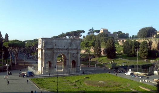 Looking toward Palatine Hill from top of Coliseum