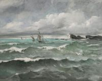 Camille Martin (French, 1861–1898), Sailing Boats near the Reefs (1896)