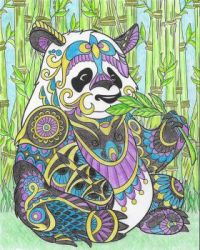 Bejeweled Panda Dining At His Favorite Outdoor Cafe