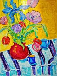 Still Life with Striped Cloth by Christaphora Robeers