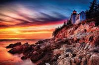 Cliff at sunset at Bass Harbour Head2