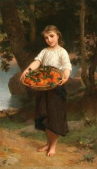 Girl with Basket of Oranges  by Emile Munier