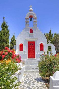A Red Door at Mykonos Church