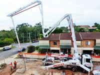 Concrete pump truck in action