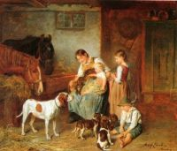 Family happiness in a barn interior