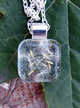 Dandelion Seeds Resin Pendant