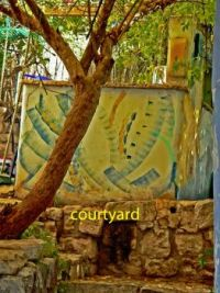 The courtyard in front of the glass blower's workshop in Svat (Safed)