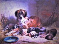 Bernese Mountain Dog and Her Pups (1862)