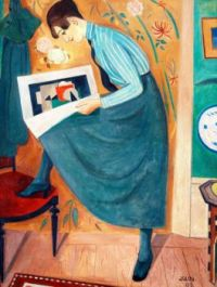 Young Woman Reading an Art Magazine