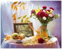 Autumn Leaves, Flowers, and Fruit Still Life