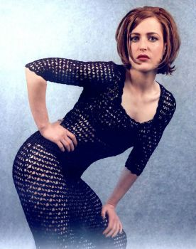 (For Hailey!) Gillian Anderson wearing kind of a weird crochet bodystocking thing