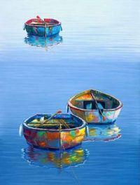Three Boats Blue