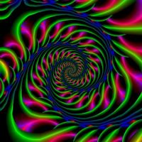 Spiral in Blue Green and Pink