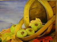 Fall Apple Basket Watercolor