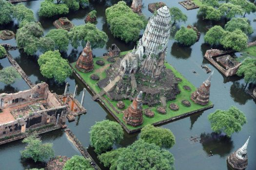 Flooded ruins of Ayutthaya, Thailand
